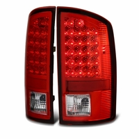 02-06 Dodge Ram 1500 / 2500 / 3500 Euro Style Bright LED Tail Lights - Red / Clear By Spyder