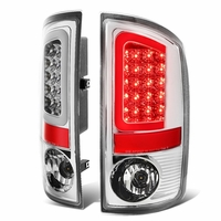 02-06 Dodge RAM Pickup 3D Style LED Tail Lights - Chrome