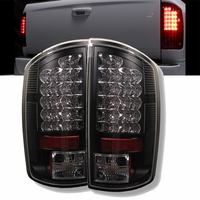 02-06 Dodge Ram Pickup Euro LED Tail Lights - Black ALT-YD-DRAM02-LED-BK By Spyder