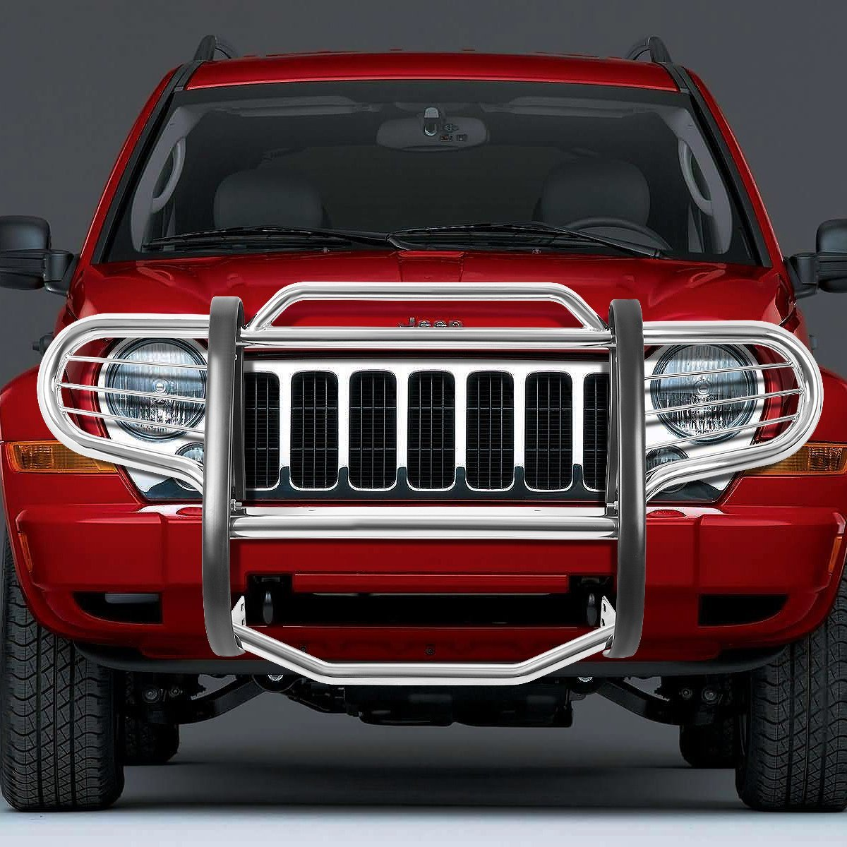 Jeep Grill Guards And Bumpers : Jeep liberty kj front bumper protector brush grille