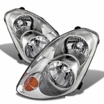 03-04 Infiniti G35 Sedan [Halogen Model] Crystal Replacement Headlights - Chrome