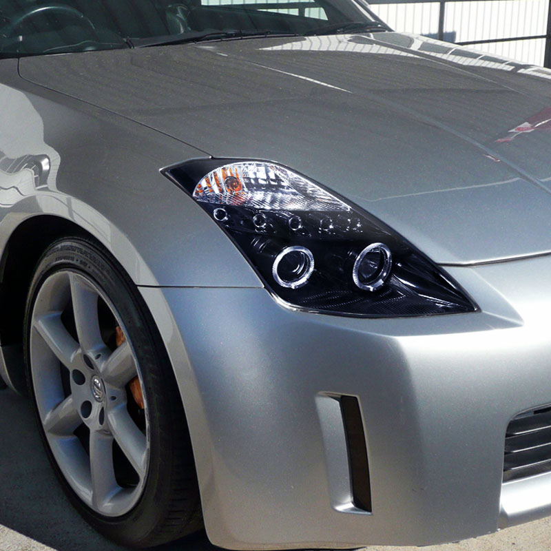 05 Nissan 350Z Non-HID Model Dual Halo & LED Projector Headlights ...