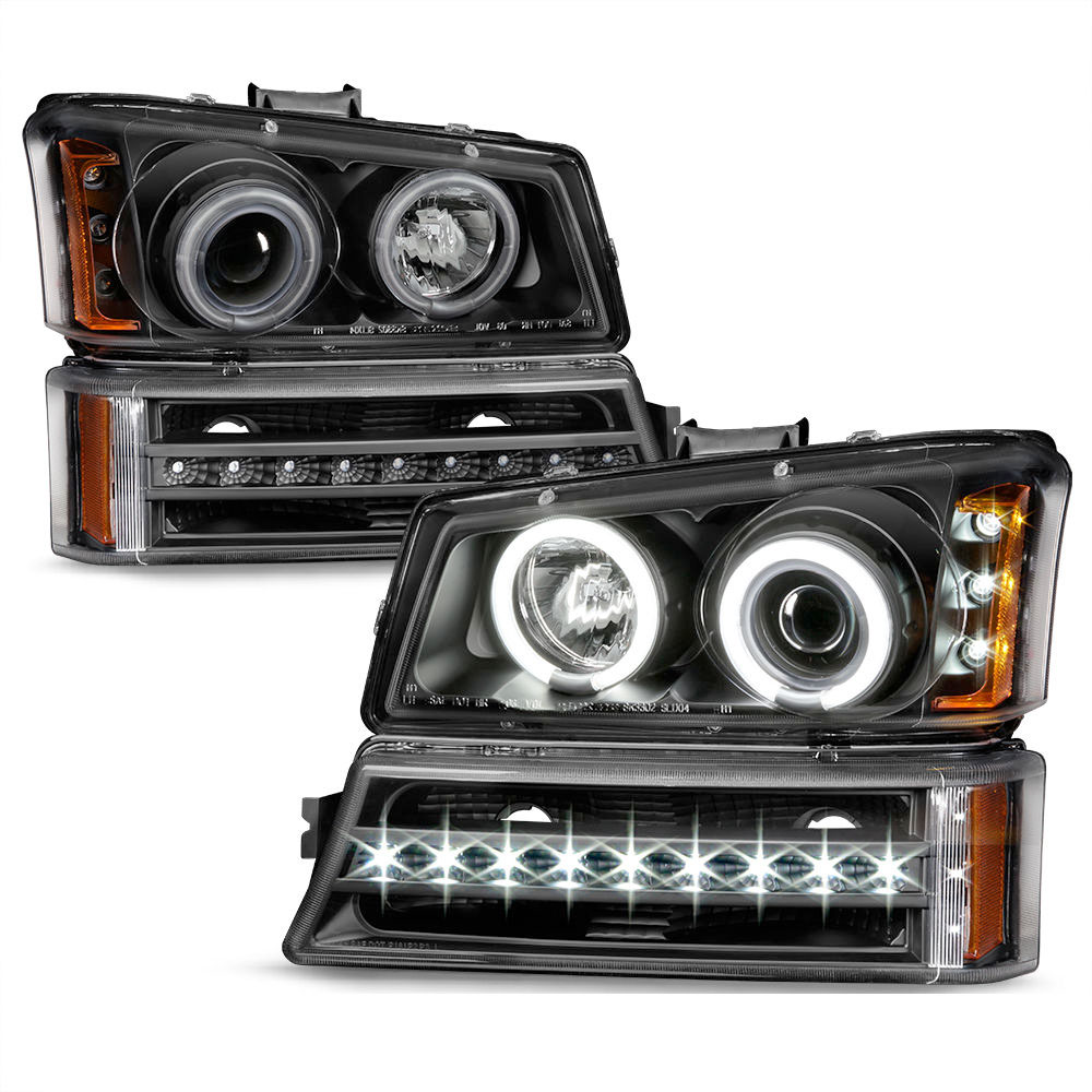 03 06 chevy silverado avalanche led halo projector headlights led bumper black