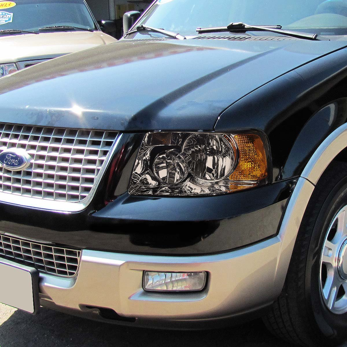 03 06 ford expedition replacement set headlights smoked