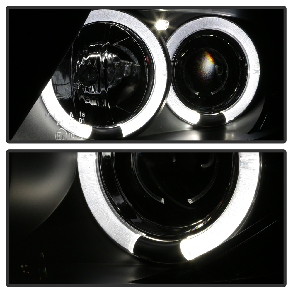 Spyder 03 08 Bmw Z4 E85 Angel Eye Halo Projector Headlights Black