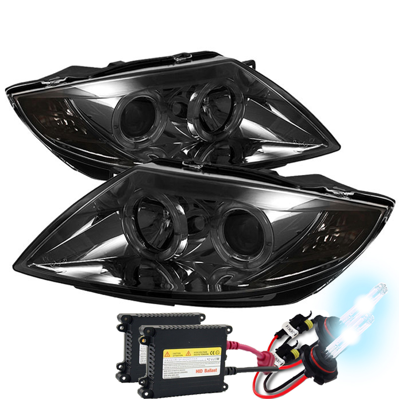 Hid Xenon 03 08 Bmw Z4 E85 Angel Eye Halo Projector Headlights Smoked