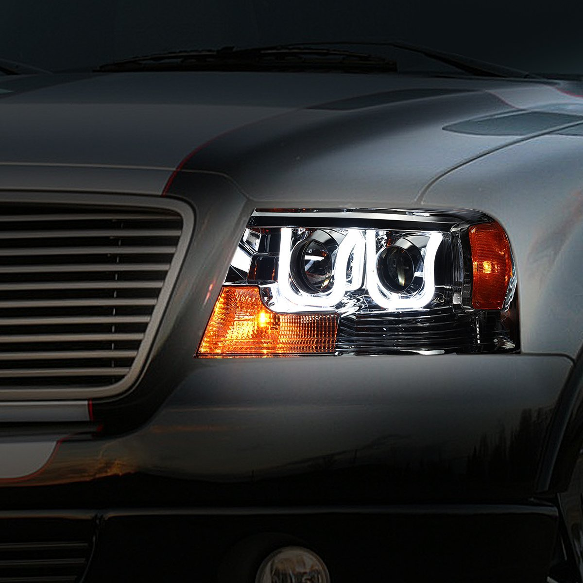04 08 ford f150 06 08 lincoln mark lt 3d halo projector headlights smoked. Black Bedroom Furniture Sets. Home Design Ideas