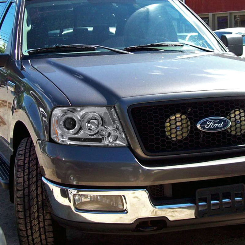 hid xenon 04 08 ford f 150 f150 angel eye halo led projector headlights chrome. Black Bedroom Furniture Sets. Home Design Ideas