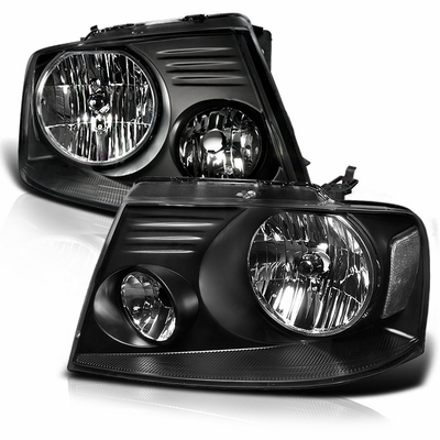2004-2008 Ford F150 / Lincoln Mark LT Euro Style Crystal Headlights - Black