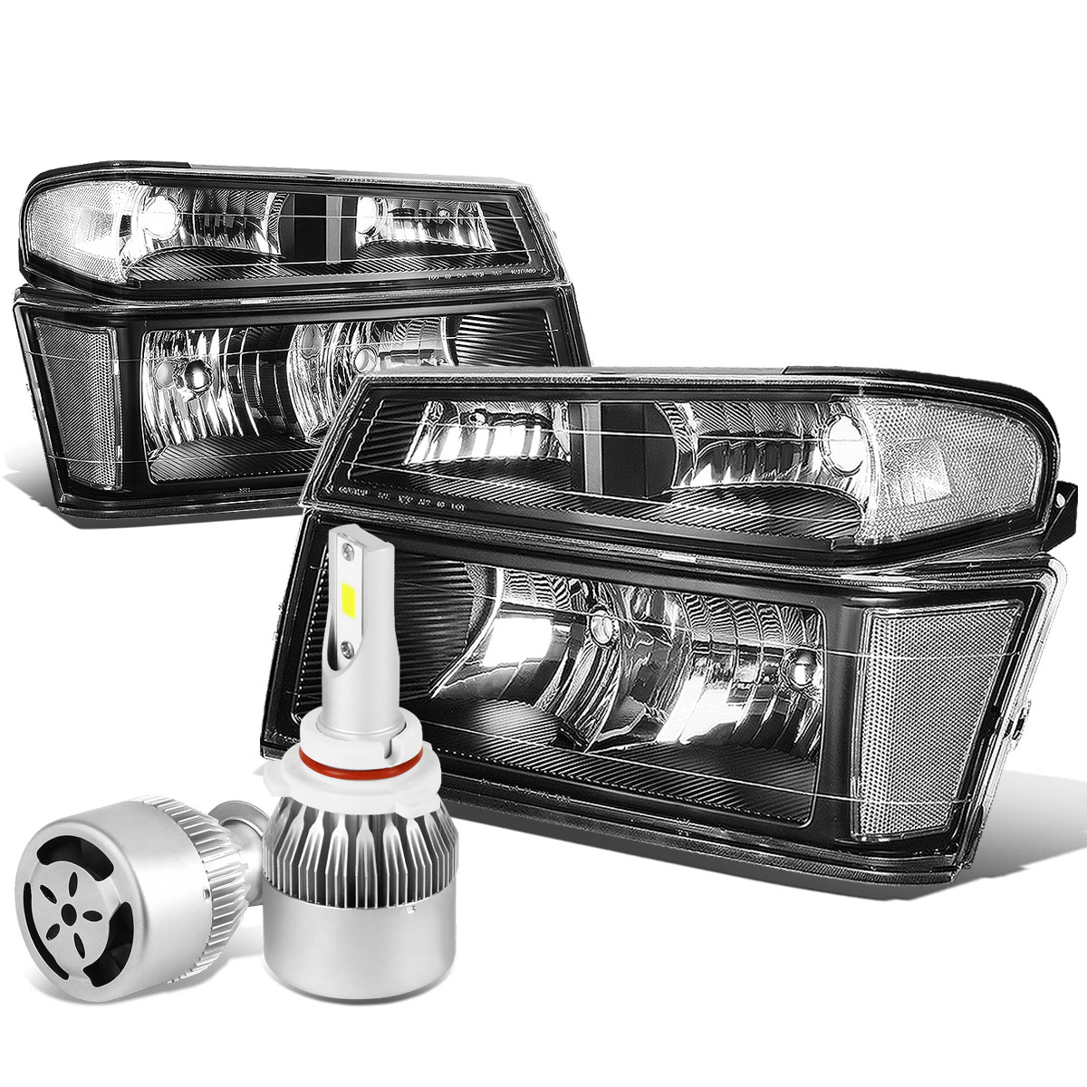 04 12 chevy colorado gmc canyon pair of headlight bumper light black housing clear reflector 6000k white led w fan 4 04 12 chevy colorado gmc canyon pair of headlight & bumper light 2004 Silverado Tail Light Wiring Diagram at mr168.co