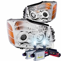 HID Xenon + 04-14 Nissan Titan / 04-07 Armada  CCFL Angel Eye Halo & LED Projector Headlights - Chrome