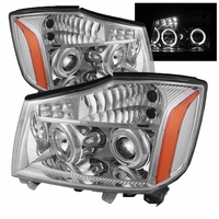04-14 Nissan Titan / 04-07 Armada Angel Eye Halo & LED Projector Headlights - Chrome