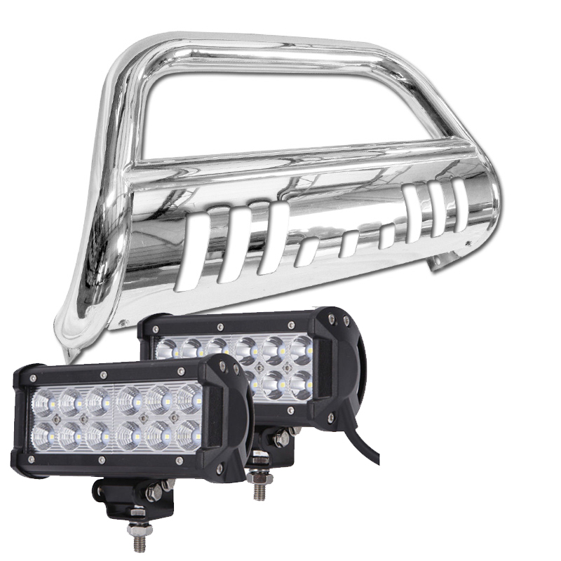 Ford F Expedition Front Bumper Bull Bar Guard W Led Light Bar Polished