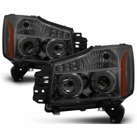 04-15 Nissan Titan / 04-07 Armada LED Halo Projector Headlights - Smoke