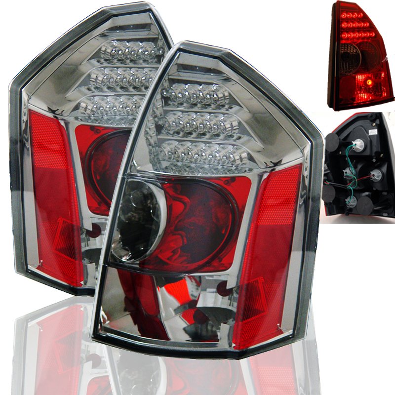 05 07 chrysler 300 euro style led tail lights smoked