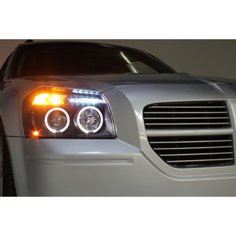 07 dodge magnum angel eye halo led projector headlights black smoked 05 07 dodge magnum angel eye halo led projector headlights black smoked publicscrutiny Images