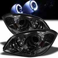 05-10 Chevy Cobalt Dual Angel Eye Halo & LED Projector Headlights - Smoked