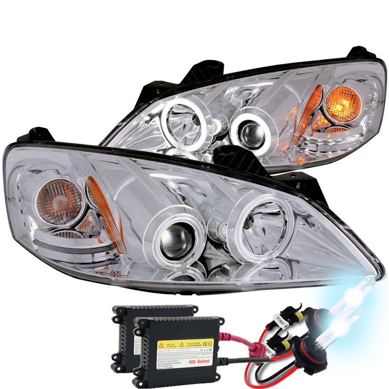 05 10 pontiac g6 dual ccfl halo led strip projector headlights chrome hid kit 18 hid xenon 05 10 pontiac g6 ccfl angel eye halo projector  at readyjetset.co