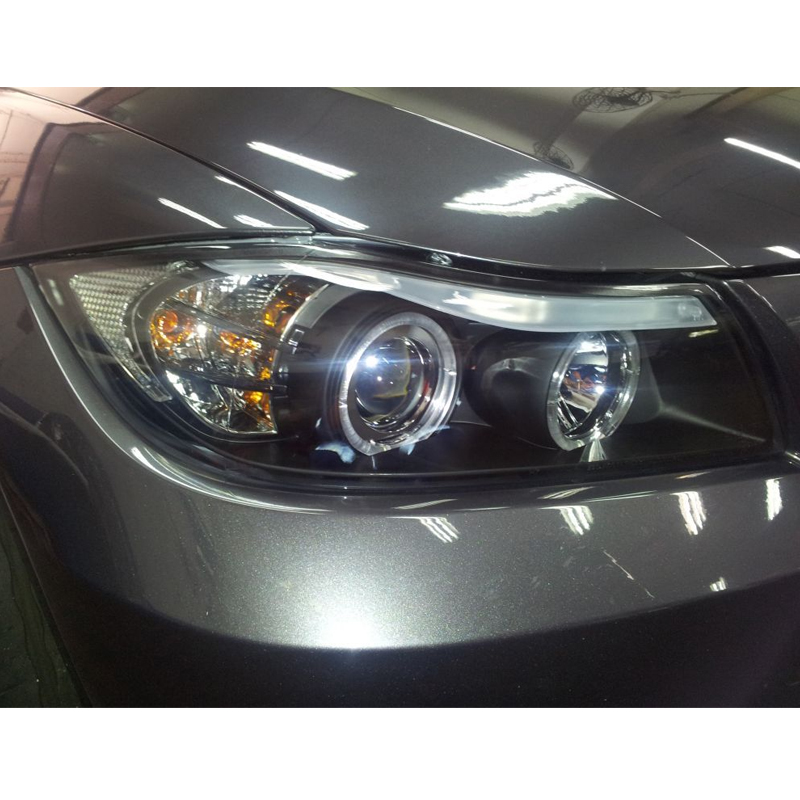 06 08 bmw 3 series e90 4dr angel eye halo led projector headlights chrome. Black Bedroom Furniture Sets. Home Design Ideas