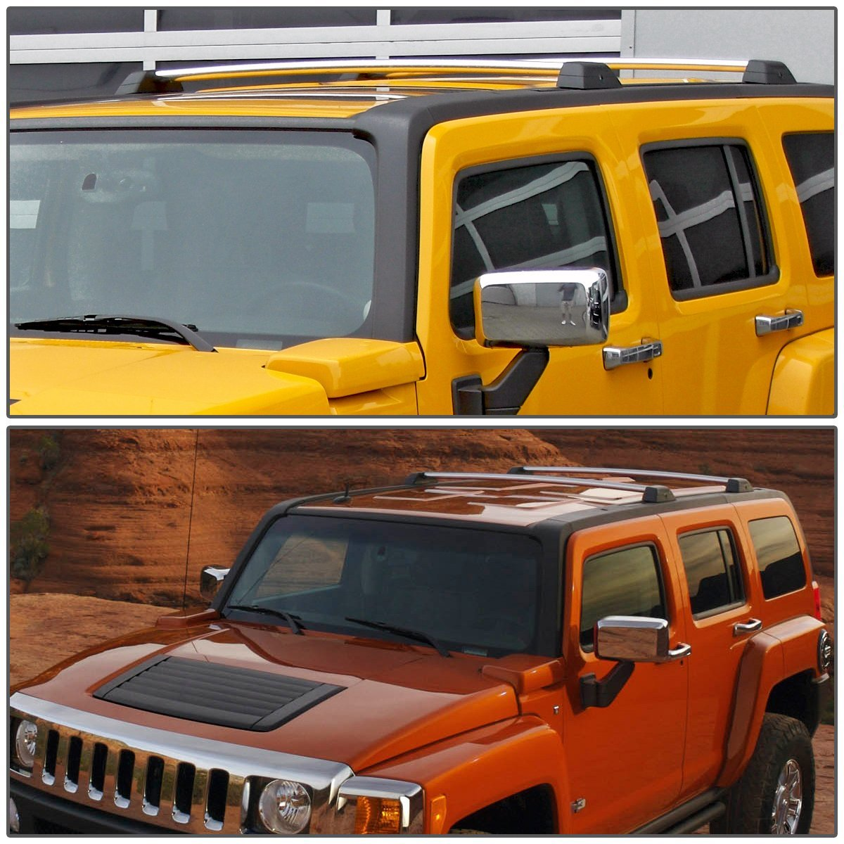 06 10 hummer h3 h3t pair of aluminum oe style roof rack. Black Bedroom Furniture Sets. Home Design Ideas