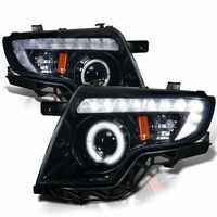 07-10 Ford Edge Angel Eye Halo & LED DRL Strip Projector Headlights - Glossy Black