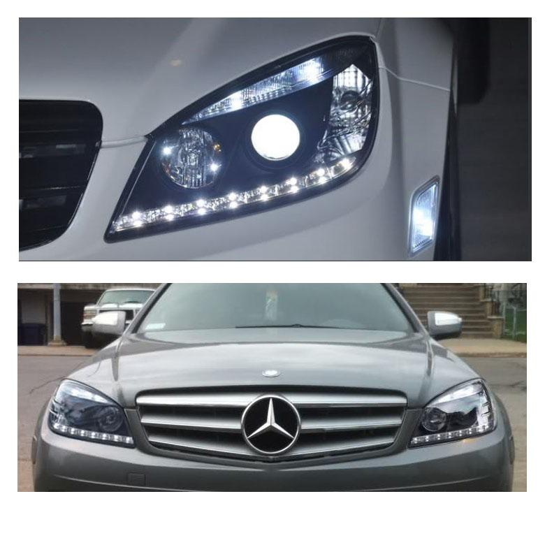 07 11 m benz w204 c class led drl projector headlights black for Mercedes benz aftermarket headlights