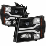 07-13 Chevy Silverado / 07-14 2500-3500 LED DRL Tube Projector Headlights - Black