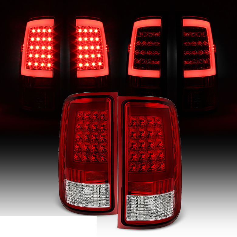 07 13 Gmc Sierra C Shaped Led Tube Red Clear Tail Lights