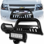 07-14 Cadillac Escalade Avalanche Suburban Tahoe Yukon Front Bull Bar Guard + 36W LED Light Bar - Black