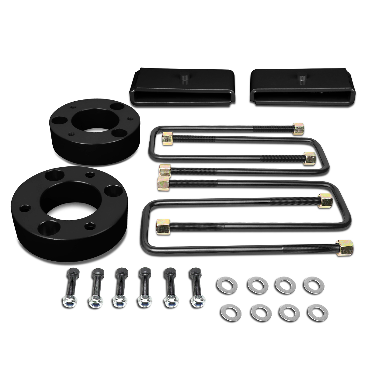 07 17 Chevy Silverado Gmc Sierra 1500 Black 3 Front Spacer 1 White Lifted Rear Block Leveling Lift Kit