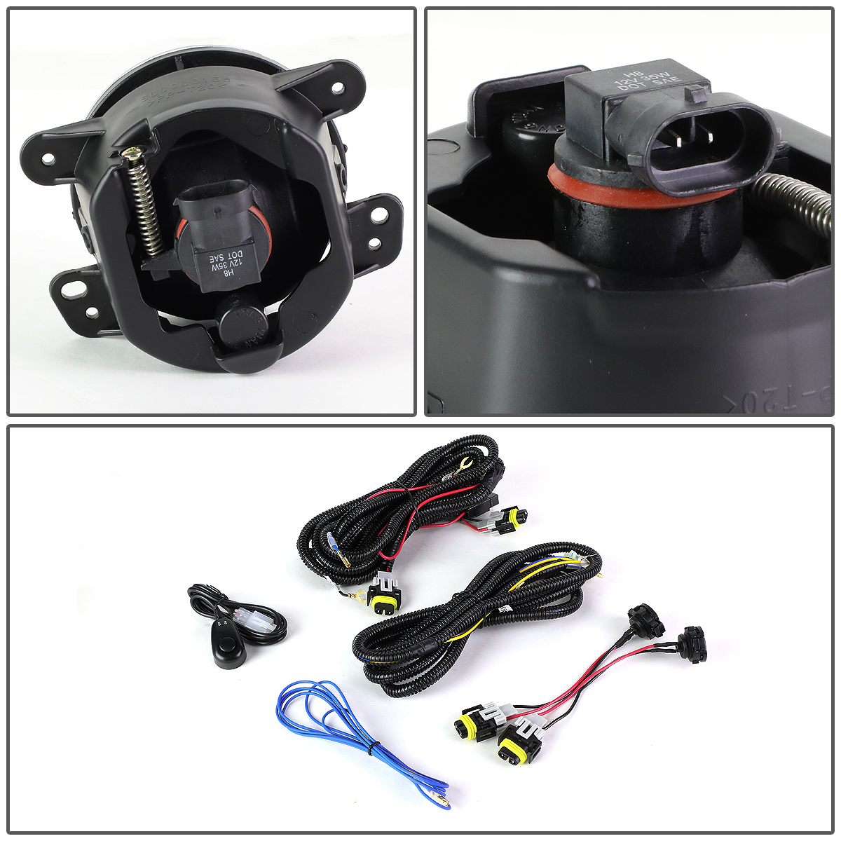 07-17 Jeep Wrangler JK Pair of Driving Bumper Fog Lights + Wiring Harness +  Switch ...