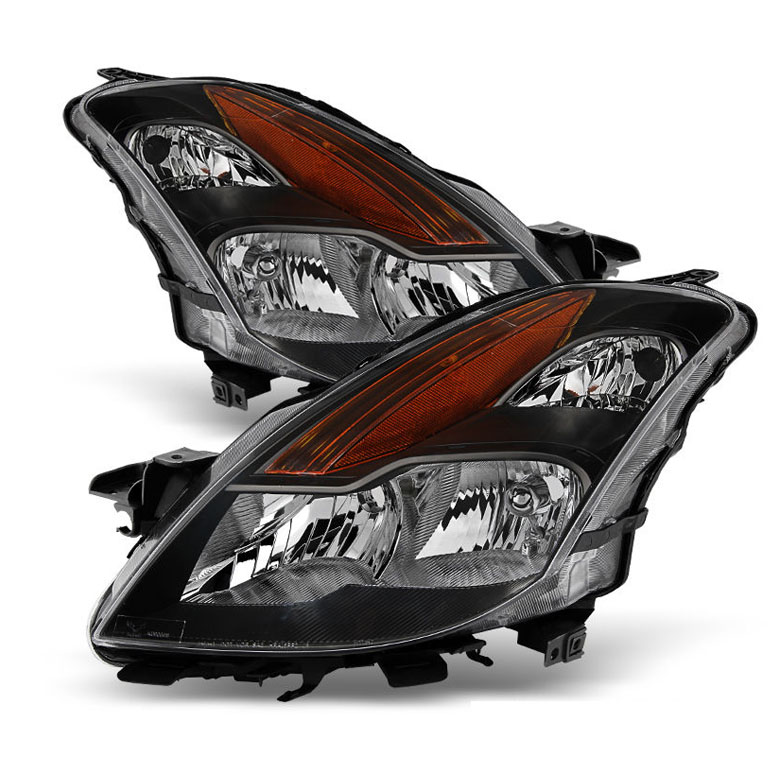 08 09 Nissan Altima Coupe [Halogen Model] Crystal Replacement Headlights    Black
