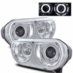08-10 Dodge Challenger CCFL Angel Eye Halo Projector Headlights - Chrome