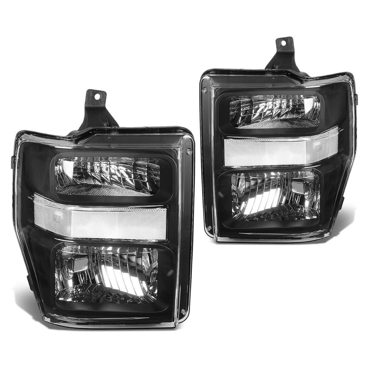 08 10 ford sueprduty f250 f350 f450 f550 replacement crystal headlights black clear