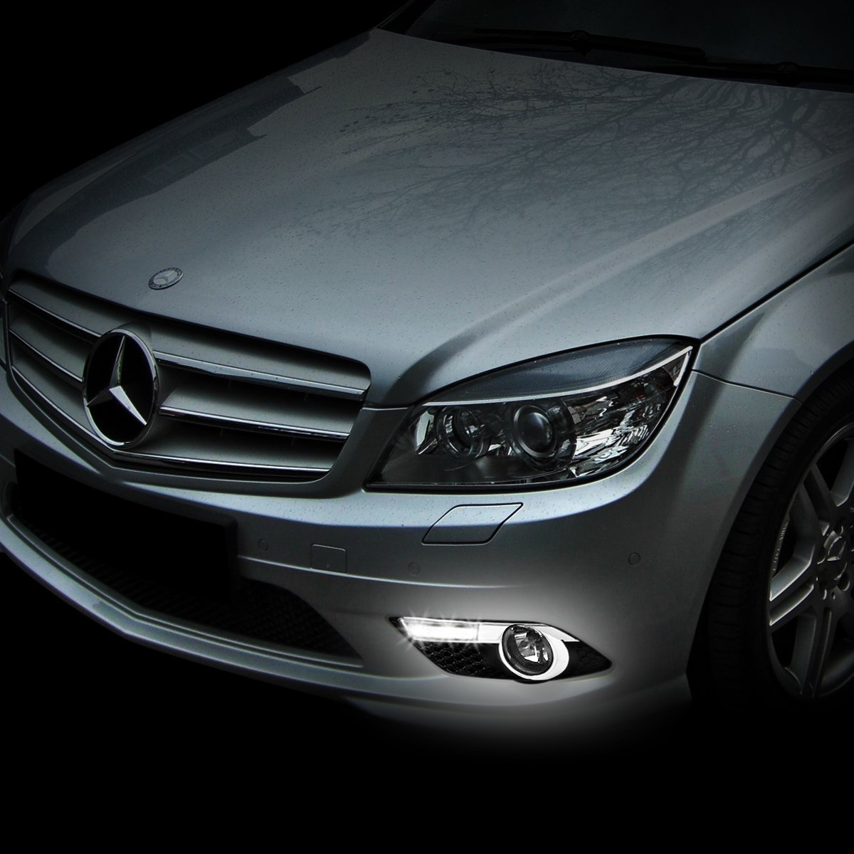 08 10 mercedes benz c300 c350 w amg sport bumper led for Led light for mercedes benz