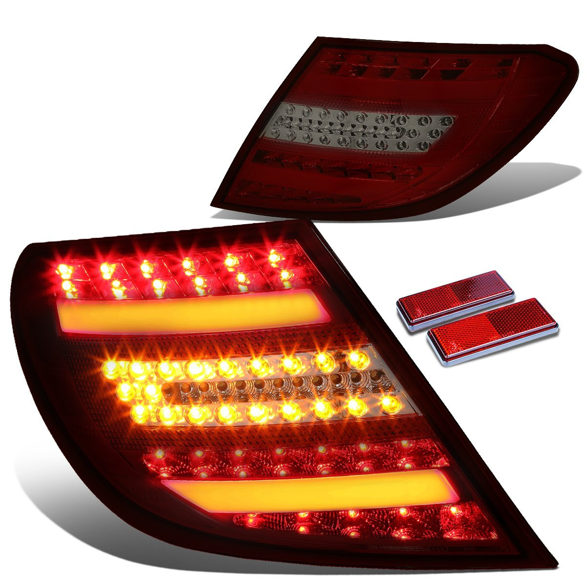 08 11 mercedes benz w204 c class amg red housing smoked for Mercedes benz tail light lens