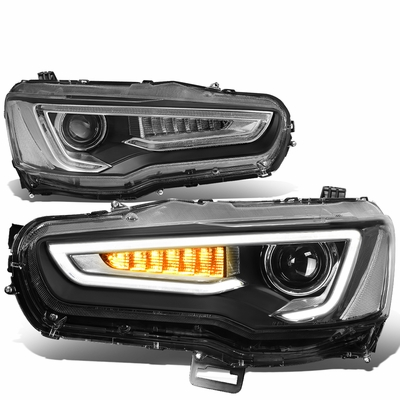 08-17 Mitsubishi Lancer & EVO X Sequential LED Turn Signal + 3D DRL Projector Headlights - Black