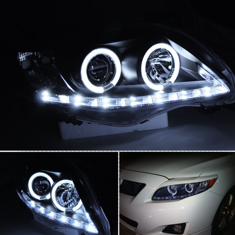 09 10 Toyota Corolla Angel Eye Halo Drl Led Projector Headlights Black