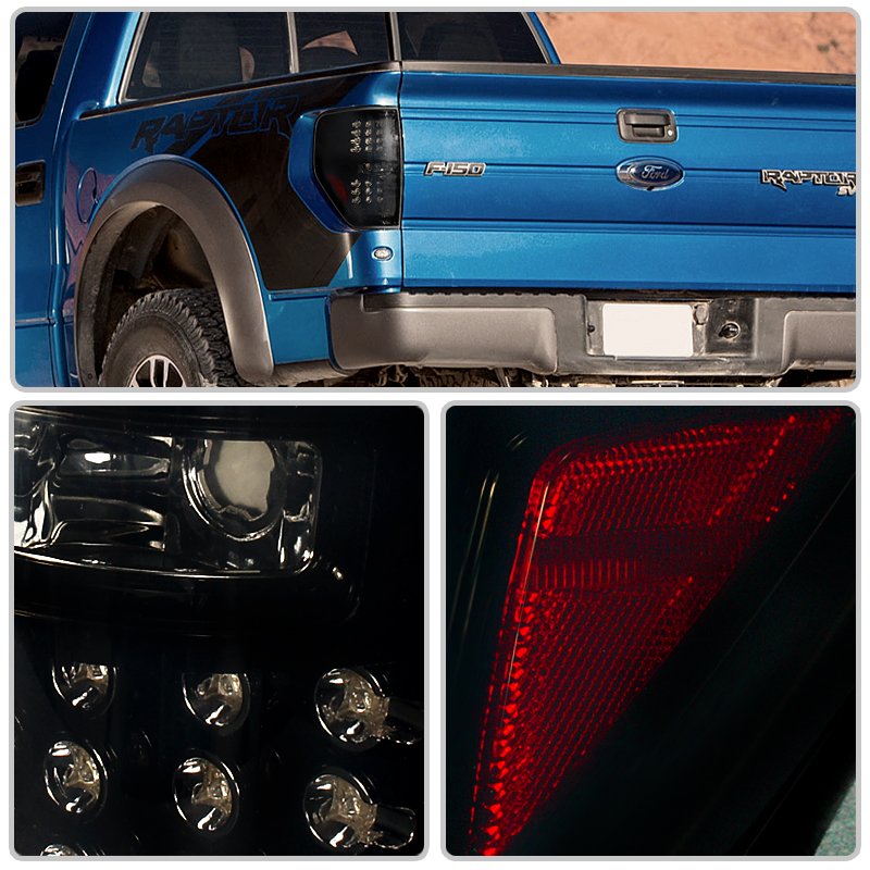 09 12 Ford F150 Pickup Truck Smd Euro Style Led Tail Lights Black Smoked