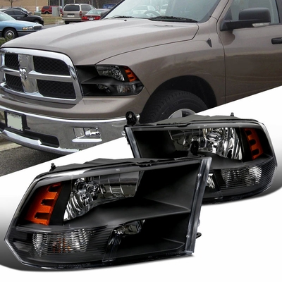 09-16 Dodge Ram [Quad Headlights] Style Replacement Headlights - Black