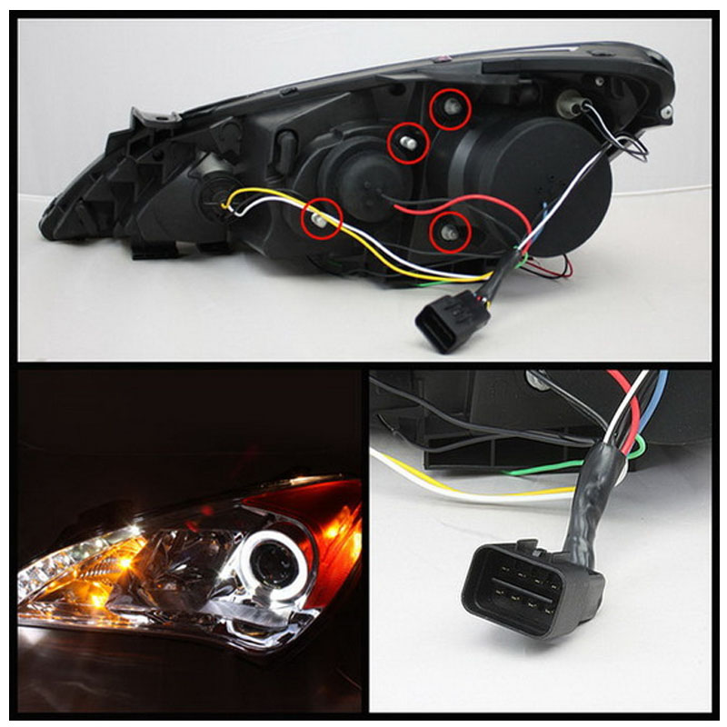 12 Hyundai Genesis Angel Eye Halo Led Drl Projector Headlights