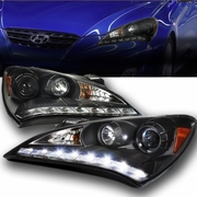 10-12 Hyundai Genesis LED DRL Projector Headlights - Black