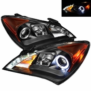 10-12 Hyundai Genesis Angel Eye Halo / LED DRL Projector Headlights - Black