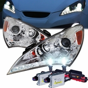 HID Xenon + 10-12 Hyundai Genesis LED DRL Projector Headlights - Chrome