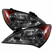 10-12 Hyundai Genesis Angel Eye Halo / LED DRL Projector Headlights - Smoked