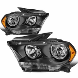 11-13 Dodge Durango [Halogen Model] Crystal Headlights - Black Amber