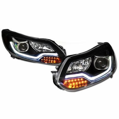 12-14 Ford Focus LED DRL Projector Headlights - Black