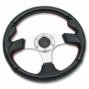 "12.5"" 320MM RACING 6-HOLE STEERING WHEEL PVC LEATHER RED STITCHING + HORN BUTTON"