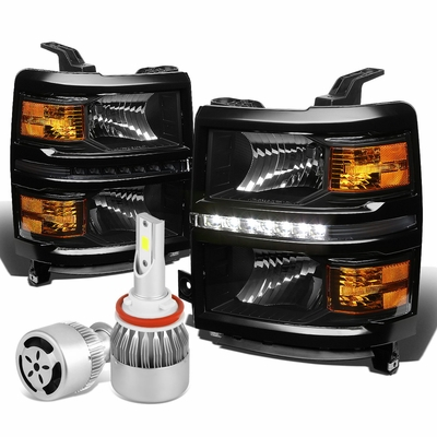 14-16 Chevy Silverado GMT K2XX LED Headlight+Corner Light (Black Housing Amber Reflector)+6000K White LED w/ Fan
