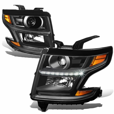 15-17 Chevy Tahoe/Suburban LED DRL Projector Headlights  - Black / Amber